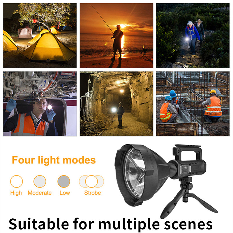 Rechargeable Searchlight Handheld LED Flashlight Spotlight 50W Electric Torch as Power Bank Power Display B88