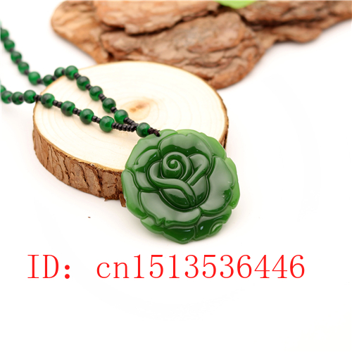 Carved Rose Jade Pendant Natural Chinese Green Beads Necklace Charm Jadeite Jewellery Fashion Lucky Amulet Gifts For Women
