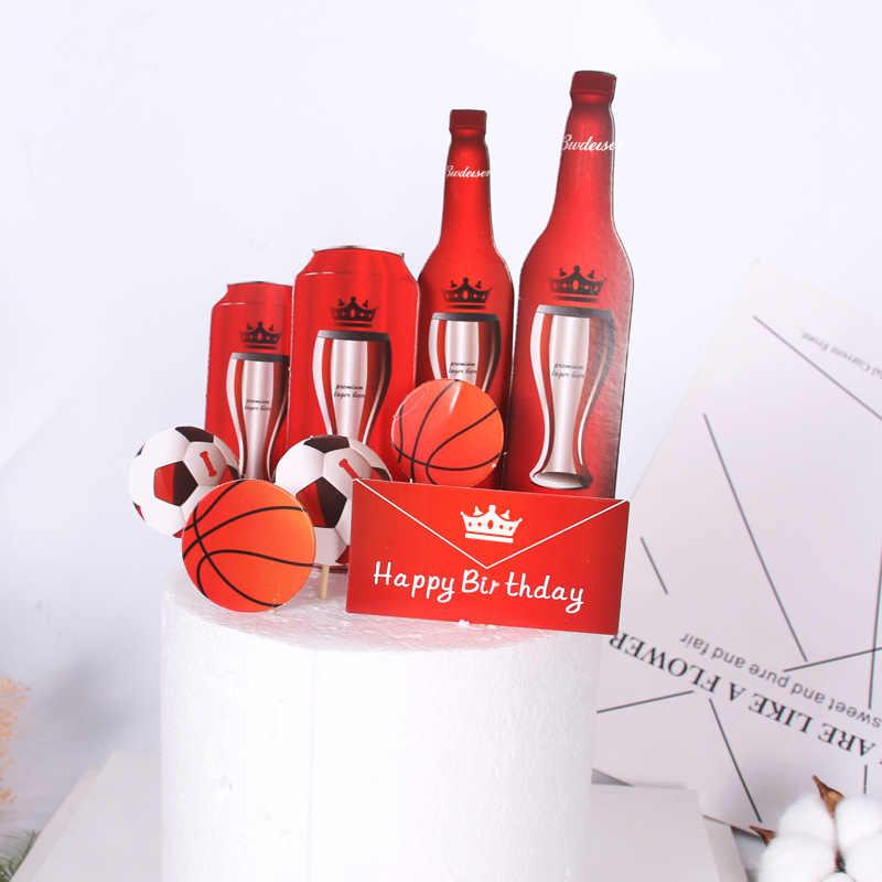 1 ensemble de décoration de gâteau bière basket-ball | Football joyeux anniversaire Festival Oktoberfest, fournitures pour fête à thème Sport, cadeaux pour enfants
