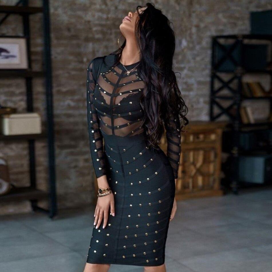 Adyce 2020 New Black Lace Bandage Dress Women Autumn Long Sleeve Olive Green Mesh Bead Midi Bodycon Club Celebrity Party Dress|bandage dress|bodycon dresscelebrity party dresses - AliExpress