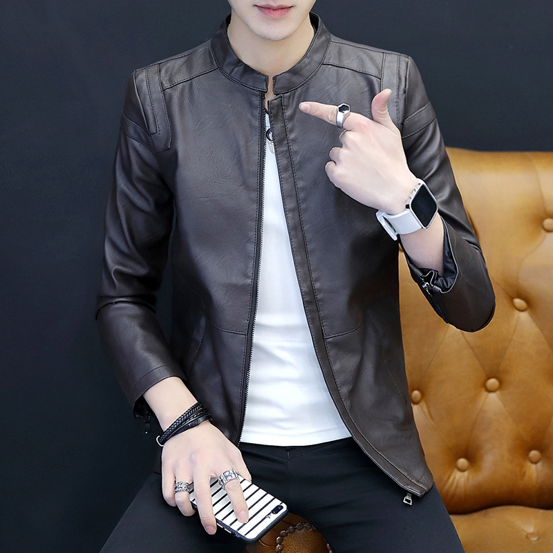 MEN'S Leather Coat Spring And Autumn Korean-style Trend Slim Fit PU Leather Jacket Youth Casual Versatile MEN'S Outerwear