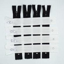 20 pces preto e branco 3 # (10cm-100cm) fechado bobina de náilon zíperes costurar artesanato