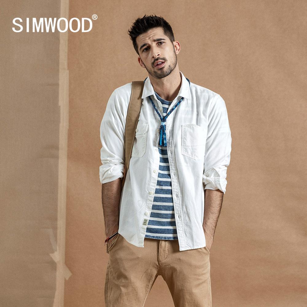SIMWOOD 2020 Spring New Cargo Pocket Shirt Men 100% Cotton Causal Long Sleeve Shirts Plus Size High Quality Clothing 190376