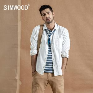 Image 1 - SIMWOOD 2020 spring New Cargo Pocket Shirt Men 100% Cotton Causal Long Sleeve Shirts Plus Size High Quality Clothing 190376