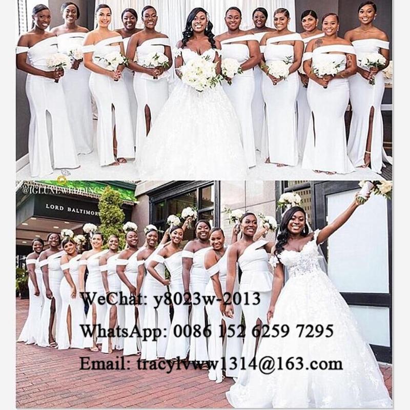 White Mermaid Bridesmaid Dresses Sexy Side Split 2020 Long African Women Wedding Party Dress Vestidos De Fiesta De Noche
