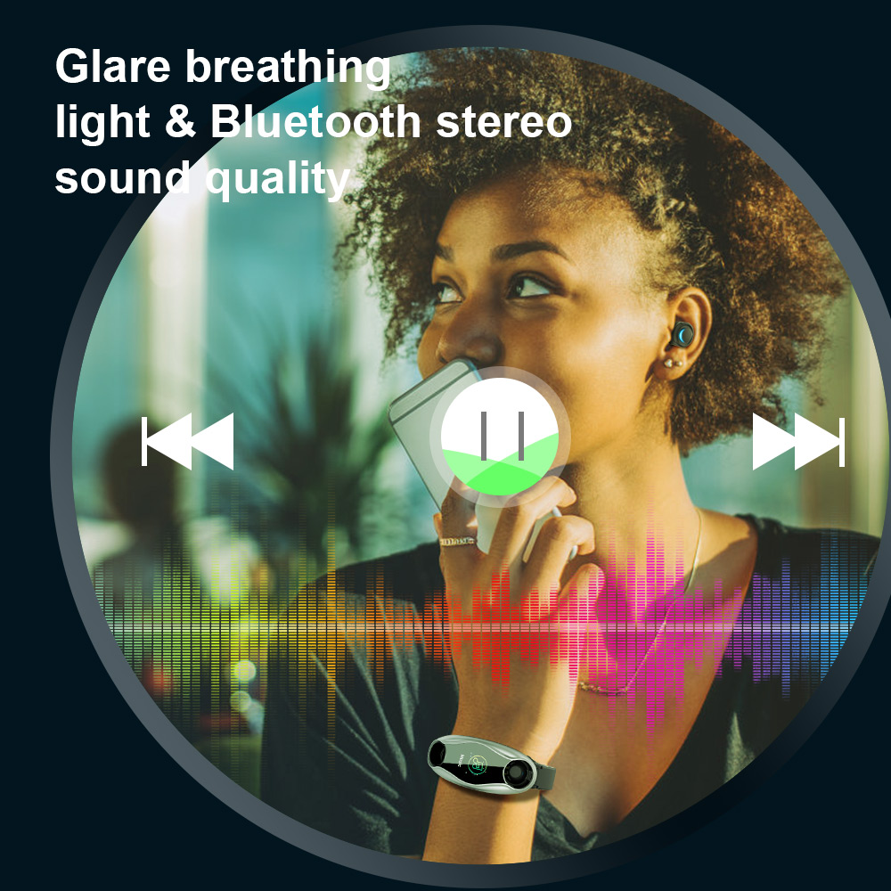 Femperna Wireless Headphones Double Bluetooth Earub Earphones Answer Call Breath Light Fitness Smart Band Wristband Smart Watch - 5