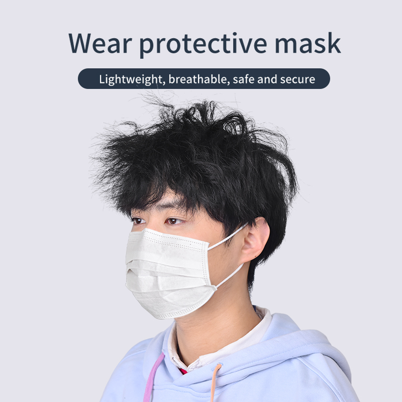 5pcs White Mask Protection DROPSHIPPING  Face Mouth Masks 3-floors Filter Non-woven Masks Outdoor Office Masque Mask