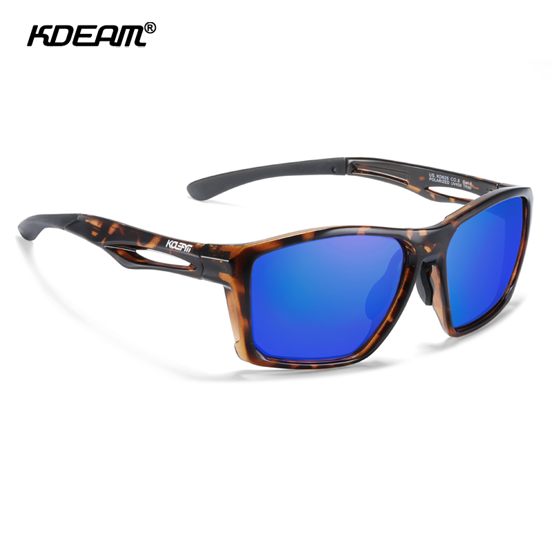 KDEAM New Arrival TR90 Material Sports Sunglasses Men Polarized UV400 Coating Sun Glasses Fishing Strong Hinges