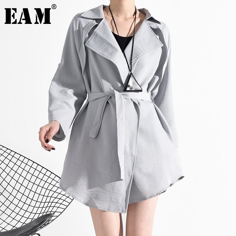 [EAM] Women Gray Bandage Thin Big Size Trench New Lapel Long Sleeve Loose Fit Windbreaker Fashion Tide Spring 2020 JA98102