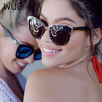 Fashion Cateye Sunglasses Women Vintage Metal Eyewear For Women Mirror Retro Shopping Oculos De Sol Feminino UV400 gm wood bamboo sunglasses with aluminum metal frame men women vintage square sunglasses shades eyewear uv400 oculos de sol
