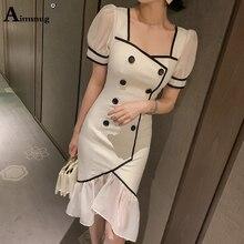 Aimsnug White Elegant Mermaid Dresses Women Summer Mesh Short Sleeve Ruffle Midi Dress Office Ladies Party Vestidos