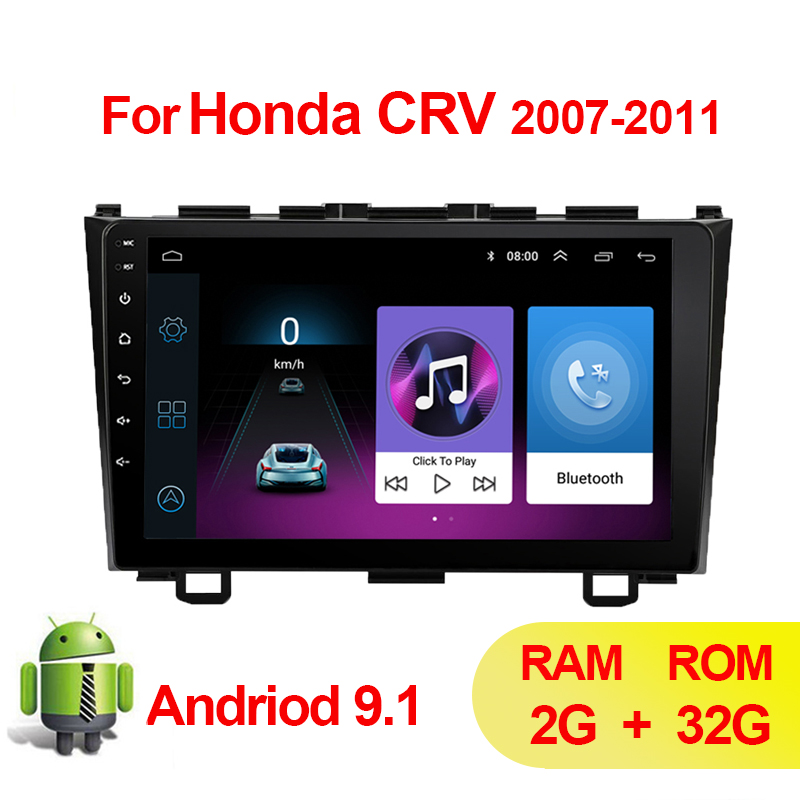 9 Car Radio Multimedia Player 2 din Android 9.1 Auto GPS navigation for Honda CRV CR-V 2006 2007 2008 2009 2010 2011 Video FM image
