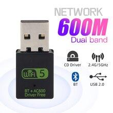 600 mb/s Adapter USB Wifi Bluetooth dwuzakresowy Mini klucz USB bezprzewodowy bezprzewodowa sieć lan odbiornik 2.4G/5GHz do laptopa/pulpit PC
