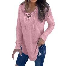 2021 chemises pour femmes chaudes pour printemps femme col en V sangle à manches longues surdimensionné hauts à la mode femme ha