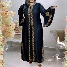 Женское винтажное платье в африканском стиле Осеннее Черное