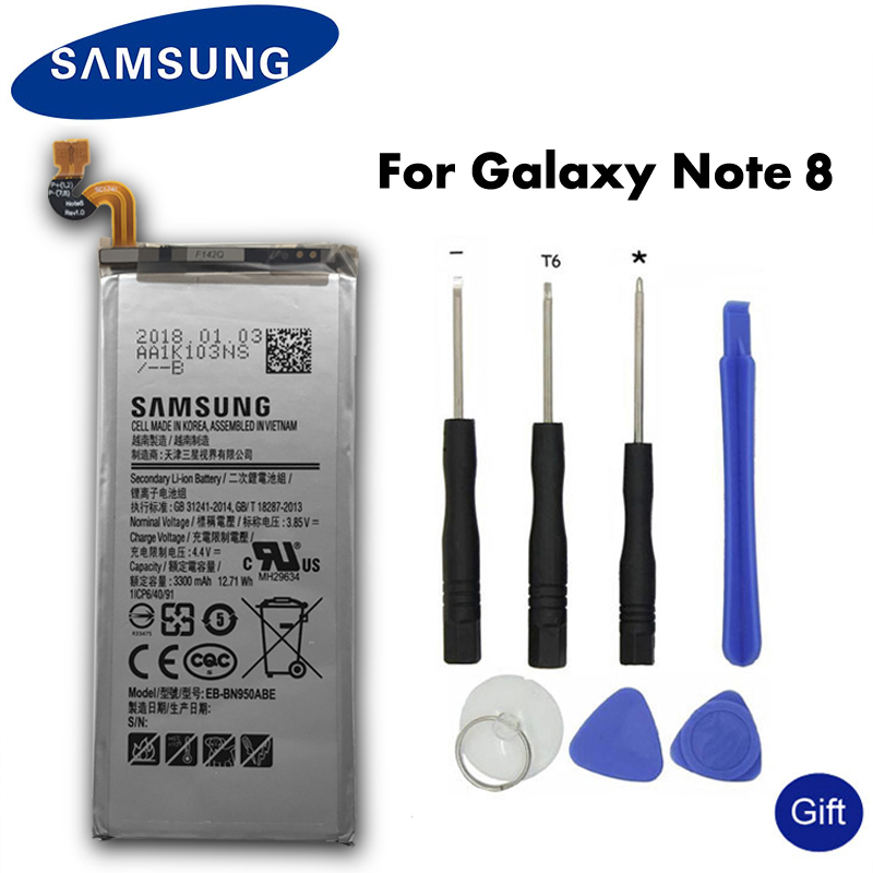 Samsung Original Phone Battery EB-BN950ABE 3300mAh  For Samsung GALAXY Note 8 N950 N9500 N9508 SM-N950F Replacement Batterie