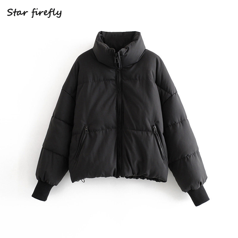 Star Firefly Fashion Za Cotton Clothing Female 2019 Autumn And Winter Thick Loose Loose Collar Short Bread Clothes Cotton Coat