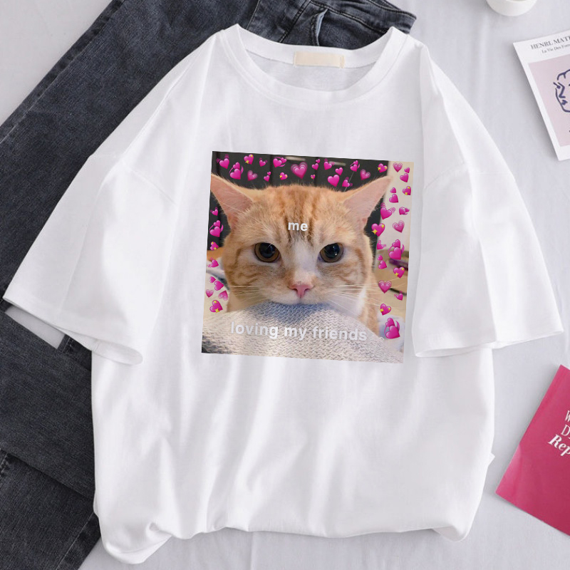 ERNESTNM Cute Cat Loves Animal Printed Summer Short Sleeve Tops Tees Casual Loose Big Size Fun Spoof Couple T-shirt