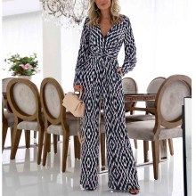 Female Elegant V Neck Jumpsuit Loose Long Sleeve Wide Leg Pants Rompers Womens Jumpsuit