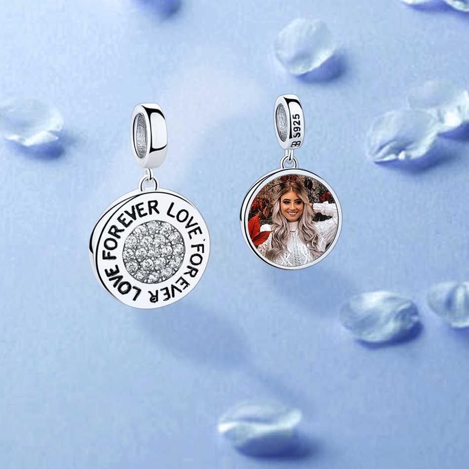 Per sempre Amore Del Cuore di Cristallo Bead 925 Sterling Silver Rotonda di Fascino Misura Originale Pandora Braccialetto Della Collana Personalizzata Foto Gioielli FAI DA TE