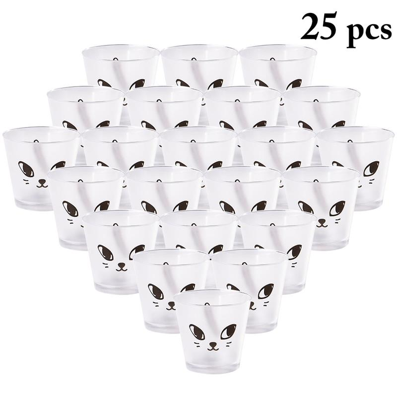25pcs Dessert <font><b>Cup</b></font> Disposable <font><b>Cat</b></font> Eye Matt Clear Plastic <font><b>Cup</b></font> Appetizer <font><b>Cup</b></font> <font><b>Cake</b></font> Container Birthday Party Supplies image