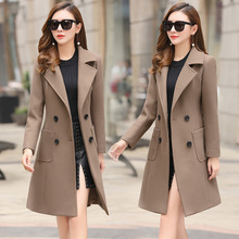 2019 Winter Clothes Long Wool Coat Women Korean Autumn Woolen Fashion M-4xl Double-breasted Jacket Elegant Blend