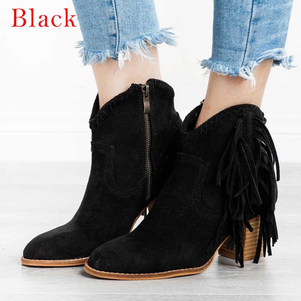 MoneRffi femmes bottes à franges bout pointu botte courte talon épais rétro Vintage bottines femmes chaussures solide gland chaussons 2019