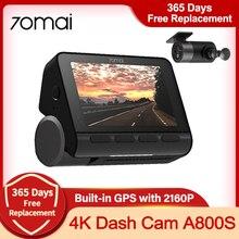 Код AECN400 Видеорегистратор 70mai 4K A800S, автомобильная камера с разрешением 4 к, GPS, ночным видением, 24 часовым мониторингом парковки