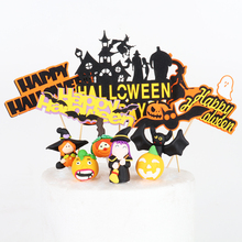 Halloween funny pumpkin witch bat cake topper for Halloween party decoration ghost castle cupcake cake topper home decor baking halloween cartoon doll pumpkin witch cat party ideal decoration for club bar shop home showcase bar table shelf holiday decor