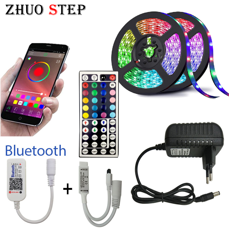5M 10M 15M LED Strip RGB 5050 SMD Flexible Ribbon Fita Led Light Strip RGBTape Diode DC 12V Bluetooth Control Adapter