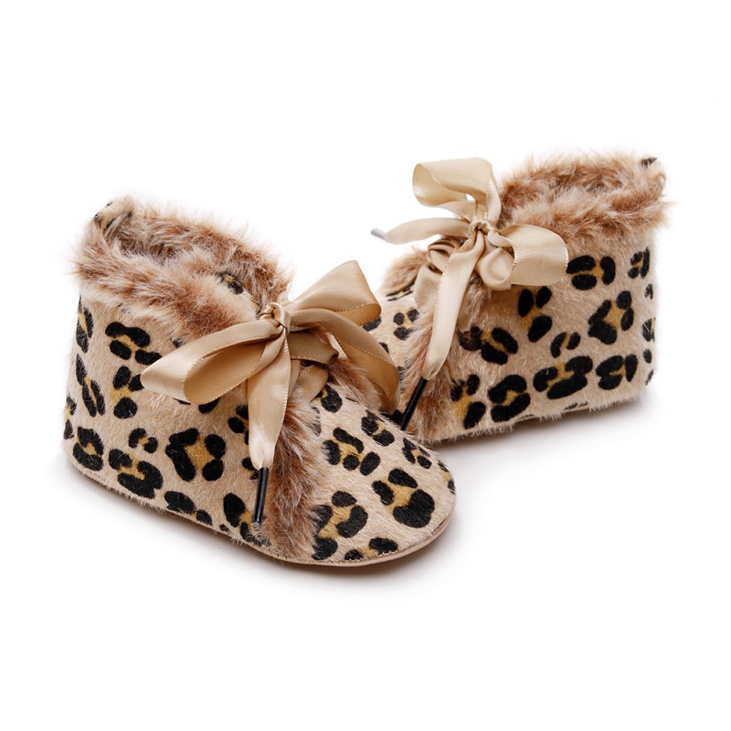 Baby Boots Winter Baby Girls Boys Shoes Warm Anti-Slip Cartoon Print Casual Sneakers Toddler Soft Soled Walking Shoes