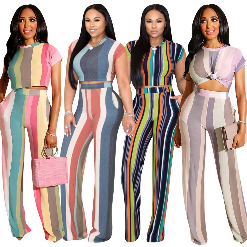 Women two piece set summer crop top wide leg pants striped patchwork tops pants 2 piece set women's two pieces sets suits