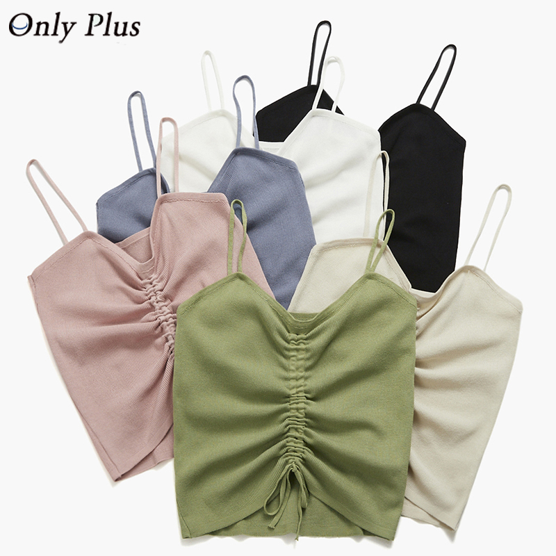 Sexy Women Drawstring Knitted Tank Top Solid All Match Casual Short Camis V Neck New Design Strap Vest Crop Tops Female