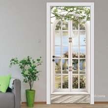 3d настенная дверная наклейка пасторальный пейзаж гостиная искусственный