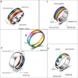 Мужские и женские радужные разноцветные ЛГБТ кольца Pulsera из нержавеющей стали обручальные кольца Lebian & геев Прямая поставка оптовая продажа