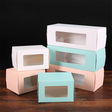 10pcs/lot White&Blue&Pink Window Box Packing Gift Boxes With PVC For Candy Cake Cookie Cupcake White Cardboard