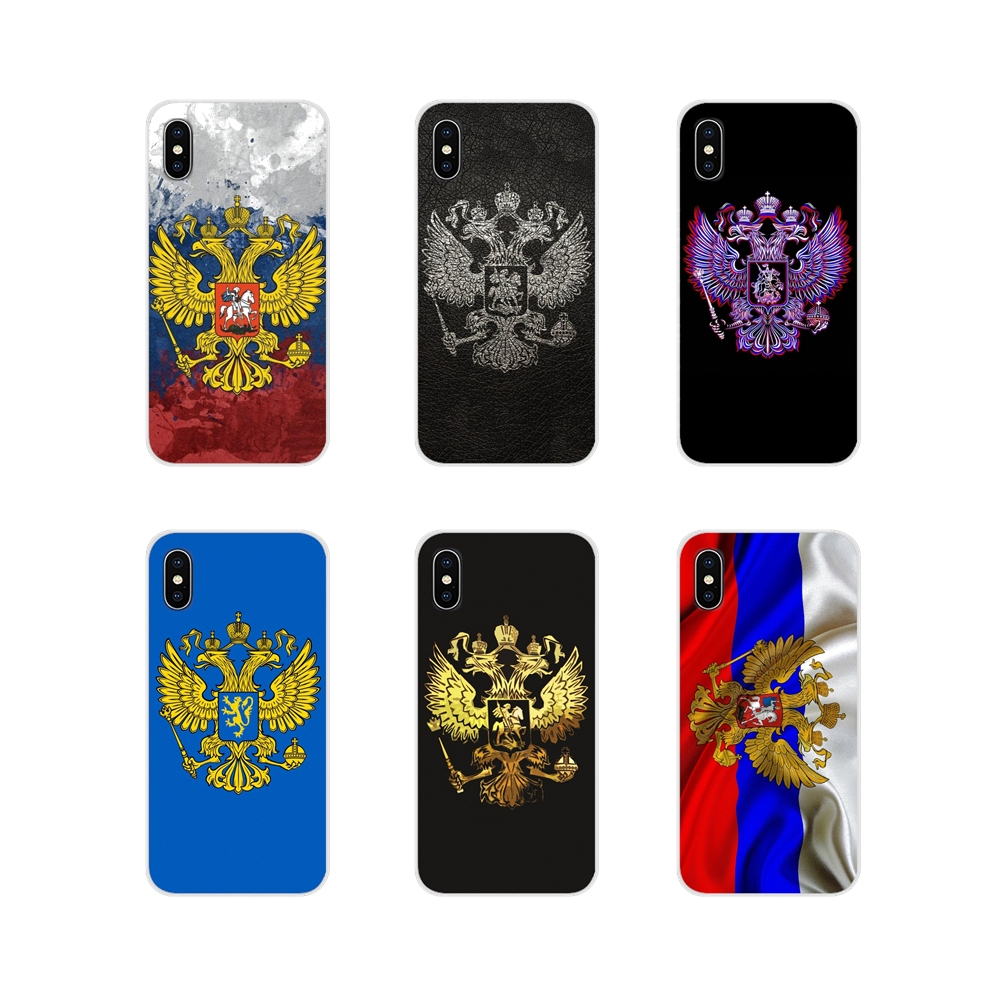 Transparent Soft TPU Case Russia Coat of arms eagle <font><b>flag</b></font> For <font><b>Samsung</b></font> <font><b>A10</b></font> A30 A40 A50 A60 A70 Galaxy S2 Note 2 3 Grand Core Prime image
