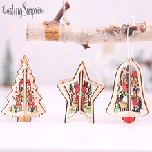1pcs Christmas Tree Ornaments Hanging Xmas NEW Year Home Party Decor 3D Pendants High Quality Wooden Pendant Decoration