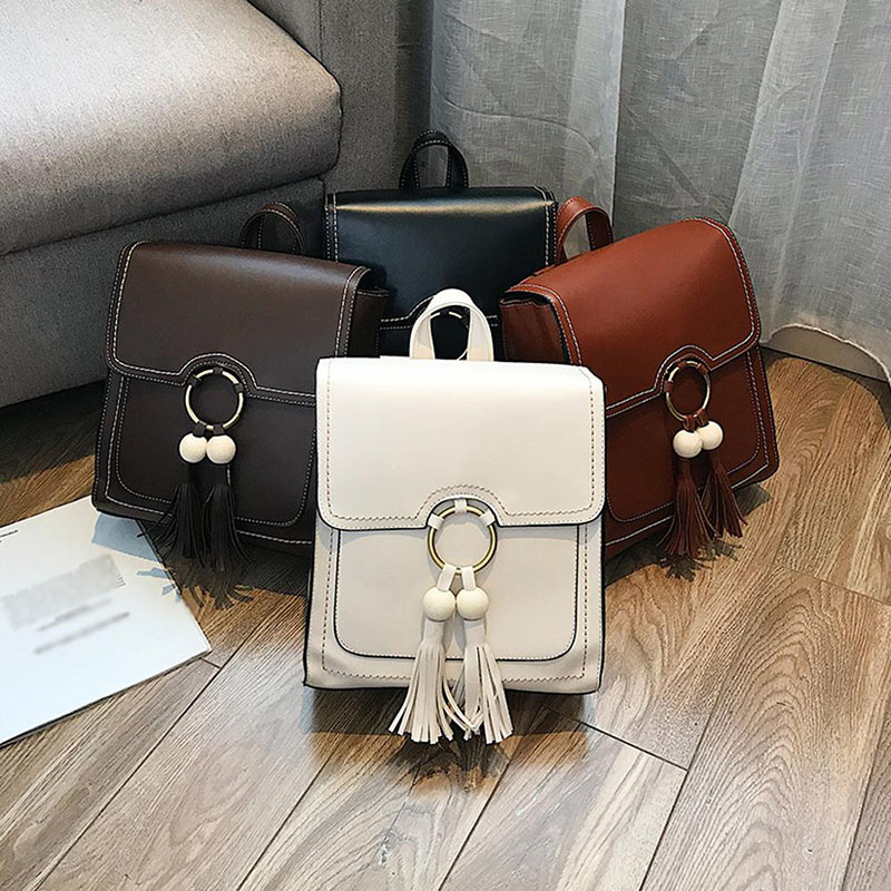 Female Korean style Solid Solid Pu Zipper Black Fashion fashionable school bags for teenage girls mochila notebook schoolbag in Backpacks from Luggage Bags