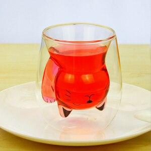 Image 5 - 250ml kreskówkowy niedźwiadek kubek kawy słodki kociak podwójne szkło kubek do soku kubki do kawy kreatywne kubki i kubki