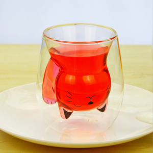 Image 5 - 250ml קריקטורה בעלי החיים דוב קפה ספל חמוד חתול כפול זכוכית מיץ כוס קפה ספלי creative כוסות וספלים