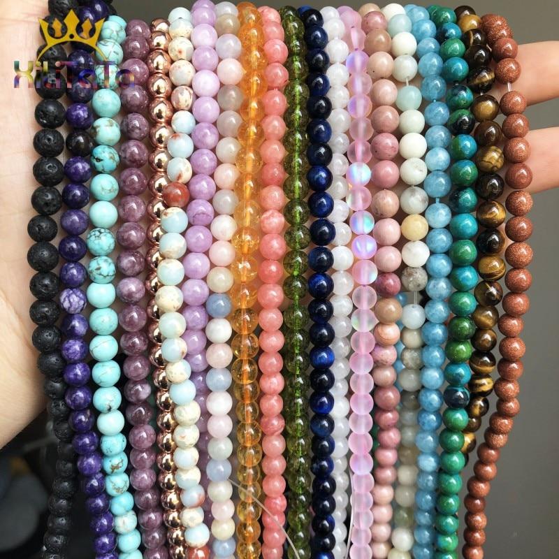 Natural Round Tiger Eye Amazonite Garnet Agates Angelite Quartz Lava Beads For Jewelry Making DIY Bracelet Accessories 15''(China)