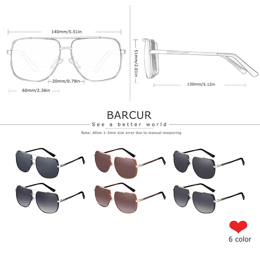 Image 3 - BARCUR lunettes de soleil carrées polarisées  Lunettes de soleil de conduite pour hommes, oculos de solLunettes de soleil homme   -