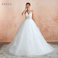Vestido de Noiva Sexy Ball Gowns Tulle Lace Wedding Dresses Real Images White Bride Dresses Ivory Robe de Mariee