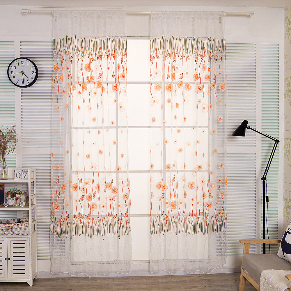 Durable Flower Curtain Window Door Panel Curtain Screening Room Divider Voile Drape Home Garden Supplies Accessories