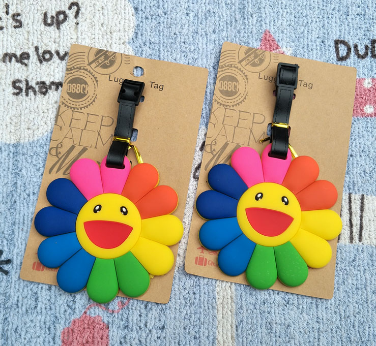 LISM Colorful Sun Flower Anime Travel Accessories Luggage Tag Suitcase ID Address Portable Tags Holder Baggage Labels New