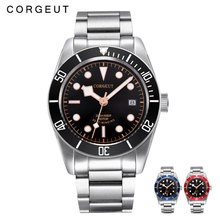 Corgeut Luxury Brand Schwarz Bay Men Automatic Mechanical Watch Military Sport Swim Clock Leather Mechanical Wrist Watches