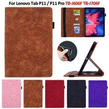 Capinha para lenovo p11 11 polegada TB-J606F em relevo couro do plutônio carteira tablet funda para lenovo tab p11 p11 pro caso TB-J706F 11.5 polegada