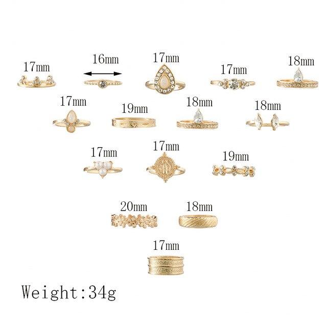15 pièces/ensemble Boho doré rétro vierge marie Simple fleur couronne cristal perle breloque fête bijoux géométrique doigt bague ensemble femmes