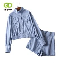 GOPLUS Blue Short Womens Suit Two Piece Set Plus Size Outfits Tops and Shorts Linen Women Clothes Conjuntos De Mujer 2019 C9550